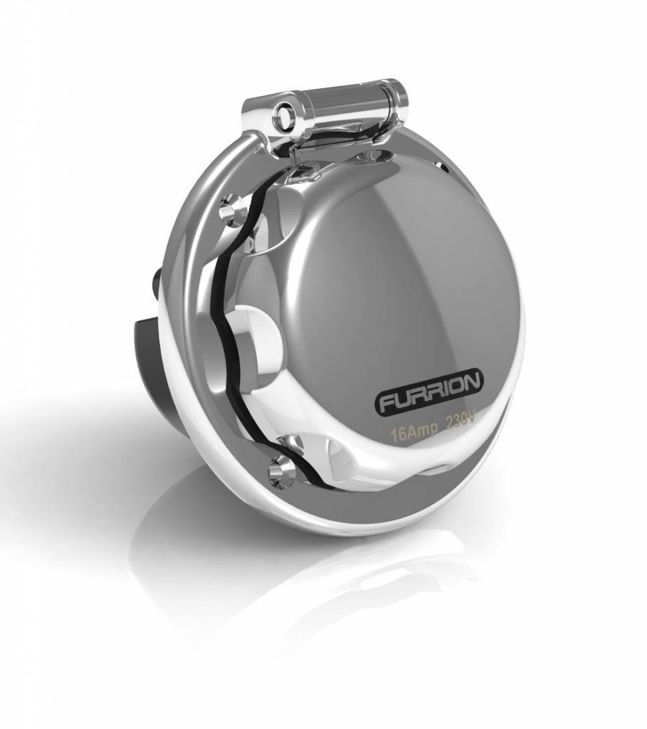 Furrion Round inlet, 16 amp, stainless steel