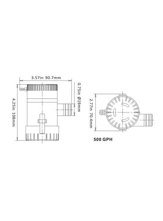 Sea Flo Lenspomp 500 GPH, 12v