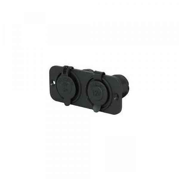 Titan Marine 12 V plug, square w/quick ring, flush mount, double