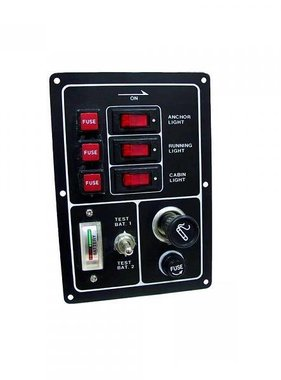 Titan Marine Switch panel 3 gang w/rockers, cigarette lighet and battery