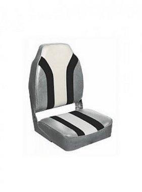 Titan Marine Rainbow bootstoel met hoge rug, Zilver/Zwart/Wit