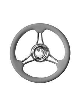 Savoretti Steering Wheel, Corsica, Grey/SS, PU Foam Cover Ribbed, 35cm