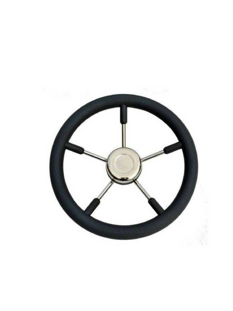 Titan Marine Steering wheel Tenerife, Black/SS, 45 cm.