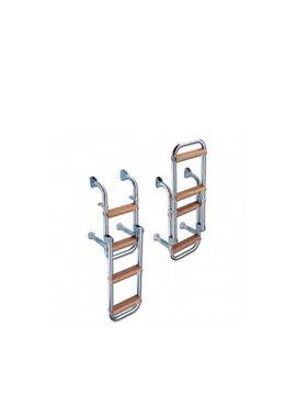 Titan Marine SS Boarding ladder, folding. 5 step, width: 228 mm. Teak steps