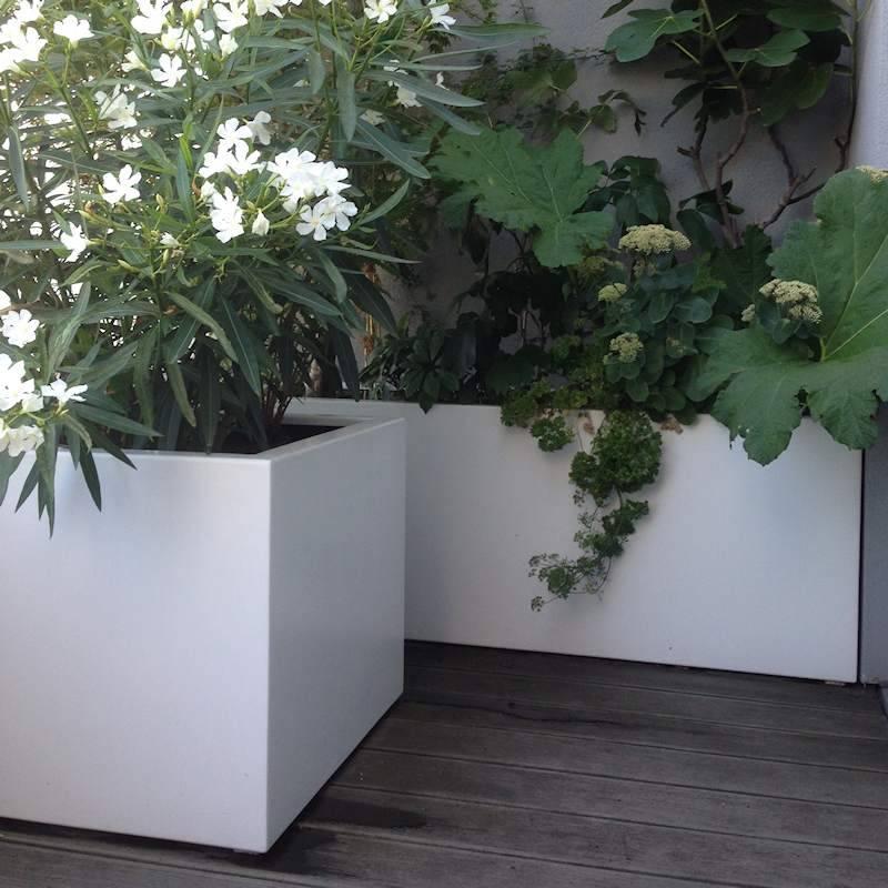 Witte Bloempot Vierkant.Grote Bloembakken Tuinvoordeel Eu