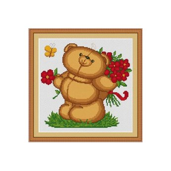 Luca-S Teddy Bear with Flowers