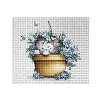 Luca-S Katzenwelpe im Blumentopf