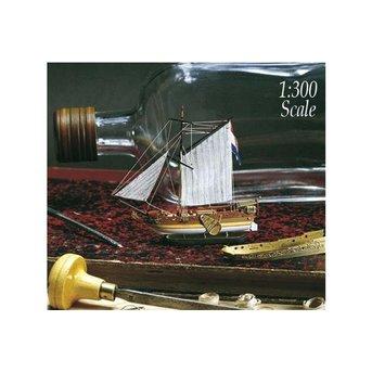 Golden Yacht - Sailing Ship in Bottle