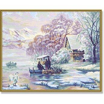 Schipper Winter an der Mountain Lake
