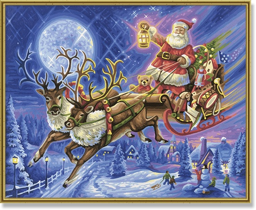 Schipper Santa Claus with reindeer sled