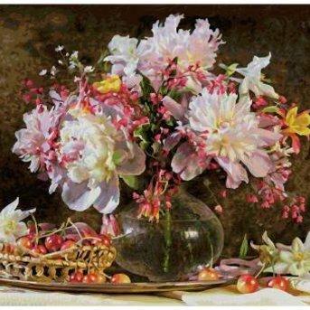 Schipper Ein Blumenstrauß und Kirschen