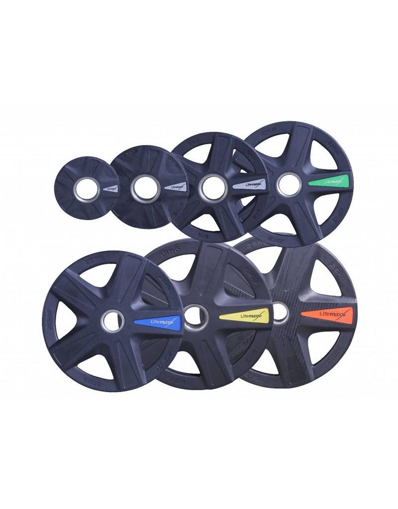 Lifemaxx® LMX92 Olympic disc dia. 50 mm - black - 5-grip model (1,25 - 25 kg)