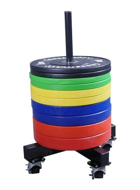 Lifemaxx® LMX1032 Crossmaxx® bumper plate stacker on wheels