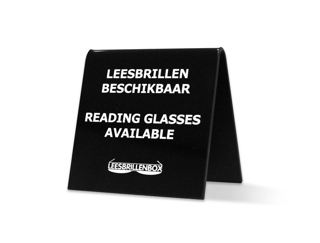 "Triangle display ""reading glasses available"". An eye-catcher for on the bar, lobby, reading table or in a consulting room, indicating you offer the Readingglassesbox service."