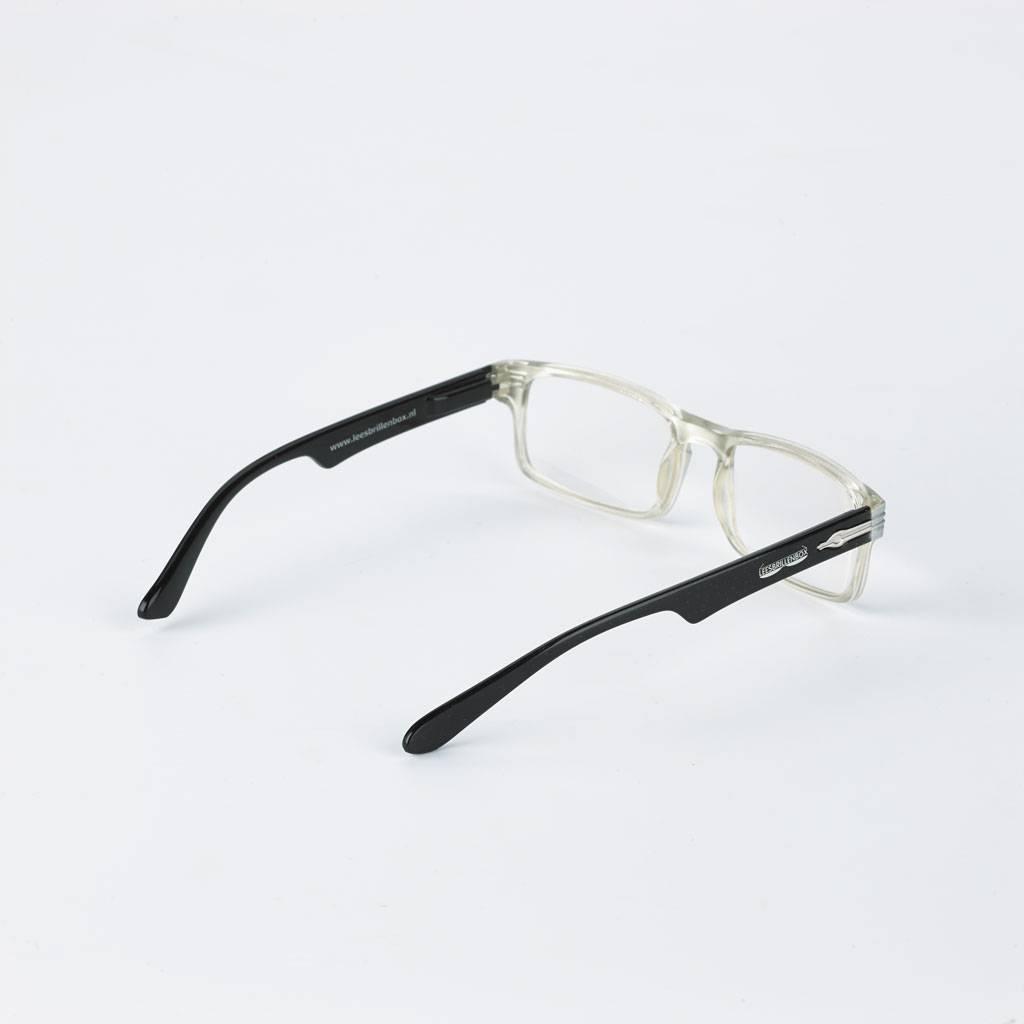 Boîte de lunettes de lecture en vernis brillant noir y compris 4 paires de lunettes de lecture de puissances différentes (1,0, 1,5, 2,0, 2,5).