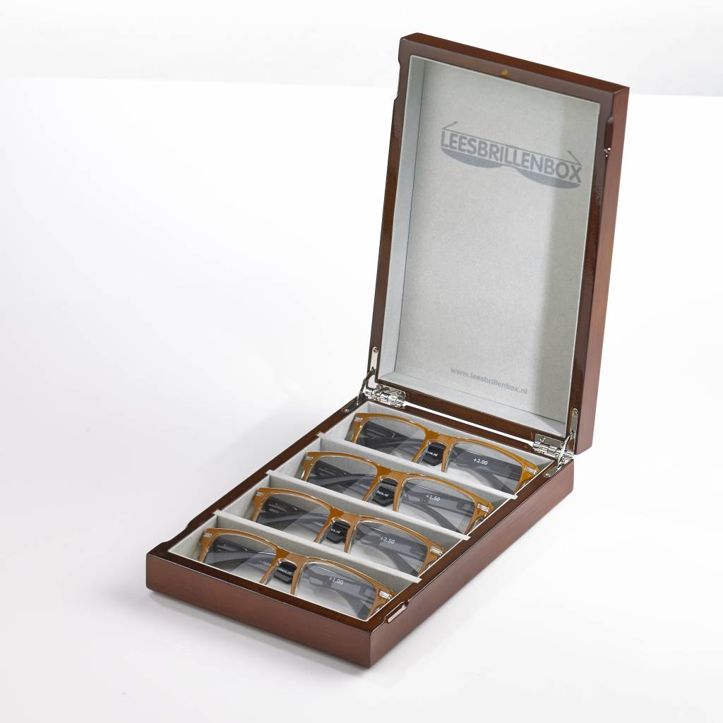 Boîte de lunettes de lecture en noyer y compris 4 paires de lunettes de lecture de puissances différentes (1,0, 1,5, 2,0, 2,5).
