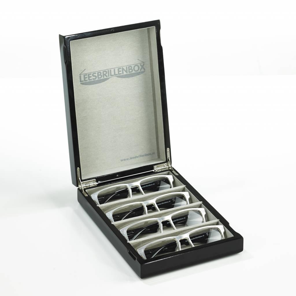 Lesebrillenbox in Hochglanz schwarz inklusive 4 Lesebrillen mit verschiedenen Stärken (1.0, 1.5, 2.0, 2.5)