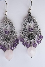 Yvone Christa Silver earrings with Amethyst and Rose Quartz