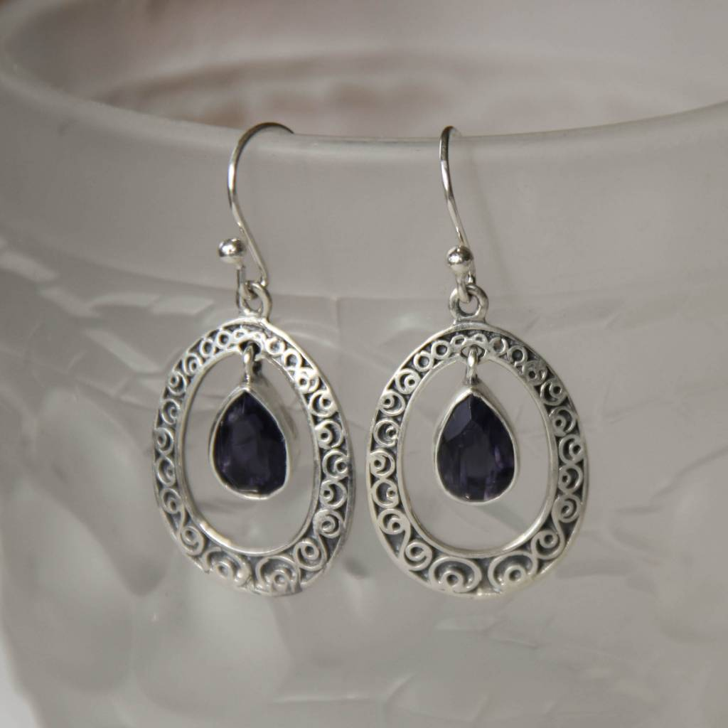Lacom gems Zilveren oorbellen met Sodaliet