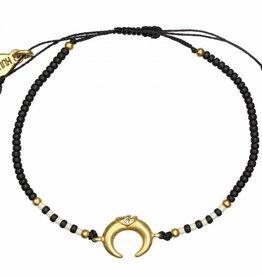 Hultquist Zwarte armband met maantje