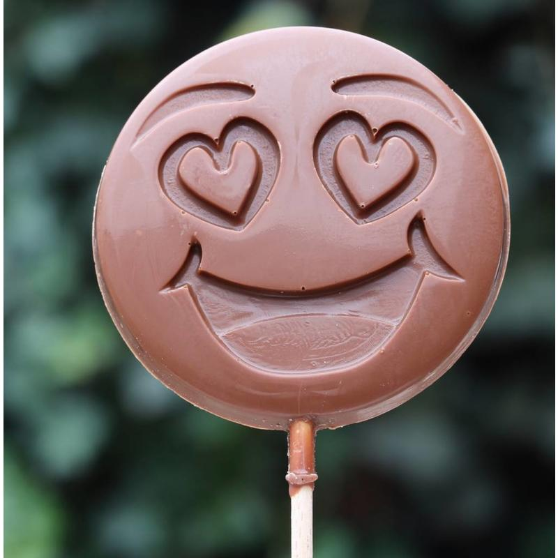 Chocoladelollie emoticon knipoog