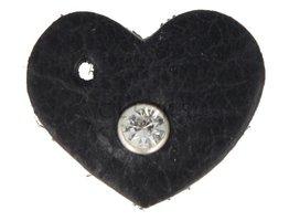 Schlüssel-/Taschenanhänger Herz XS Schwarz mit Strass  (TH114)