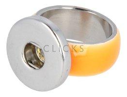 Ring Edelstahl mit Clickhalter/Edelstahl mit Orange Grösse 16,5 (RCCONR055/16,5)