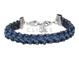 Ibiza Armband : einzelne Bändchen Dunkelblau Flecht (RIB024)