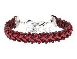 Ibiza Armband : einzelne Bändchen Bordeauxrot Flecht (RIB026)
