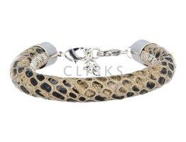 Ibiza Armband : einzelne Bändchen Braun/Beige Schlange (RIB070)