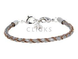 Ibiza Armband : einzelne Bändchen Braun Grau Rund geflochten (RIB081)