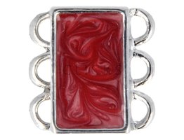 Ibiza Armband : Schliesse 3 schmallkel Rot Marmorlook (RIS009)