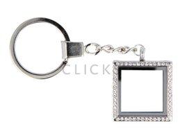 Sweet Memory locket : sleutelhanger vierkant zilver strass