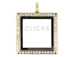 Sweet Memory locket : vierkant goud strass