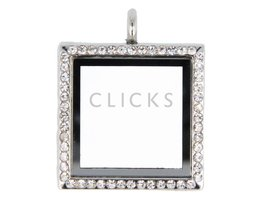 Sweet Memory locket : vierkant zilver strass