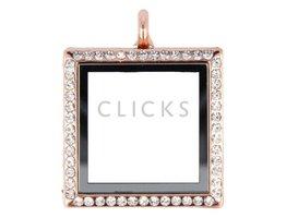 Sweet Memory locket : vierkant rosé strass