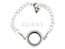 Sweet Memory Locket Armband Locket Strass Durchmesser 15mm Silber (MLJ015)