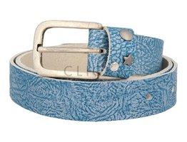 Ledergürtel mit Studs-Besatz auf Gürtelschlaufe - Douro Blau (LR1013)