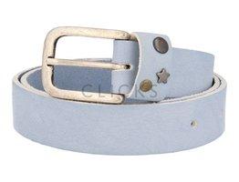 Ledergürtel mit Studs-Besatz auf Gürtelschlaufe - 505 Hellblau (LR1015)