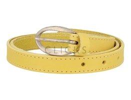 Schmaler, gesteppter Ledergürtel - 508 Gelb (LR1022)