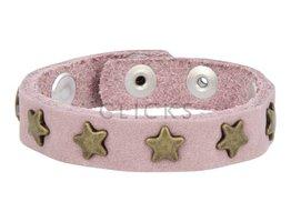 Below 16 Kinderarmband studs 019 roze nubuck / goud ster (KB2117SR/G)