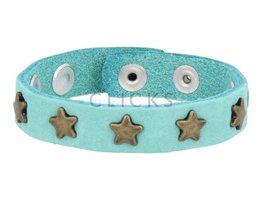 Below 16 Kinderarmband studs licht turquoise / goud ster (KB2163SR/G)