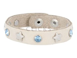 Below 16 Kinderarmband studs sand nubuck / zilver ster-blauwe strass (KB2230SR/Z-st blauw)