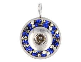 Kettenanhänger MiniClicks Rund mit Steinchen Blau/Silber (KHCM127)