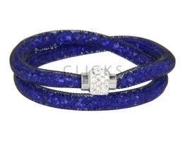 Sterren dust ketting felblauw strass-sluiting (KSD025)
