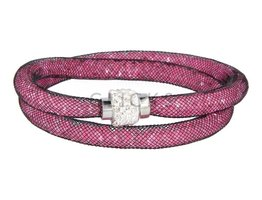 Sterren dust ketting zwart gevuld roze strass-sluiting