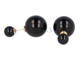 Telinga Oorbellen dubbel zwart / zwart (DDOB001)
