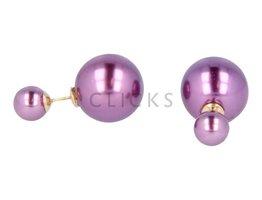 Telinga Ohrringe doppelt violett / violett (DDOB007)