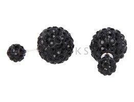 Telinga Oorbellen dubbel zwartstrass-zwart / zwartstrass-zwart (DDOB014)