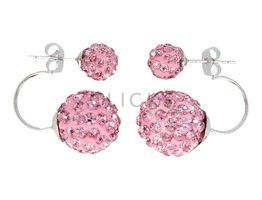 Telinga Ohrringe 2 Kugeln untereinander Strass rosa / Strass rosa (DDOB024)